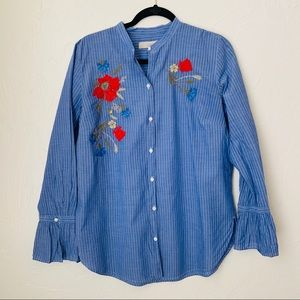 Loft button down embroidered top▪️size M